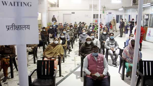 Frontline workers waiting for their turn for the first dose of Covishield vaccine during the vaccination drive  (ANI)