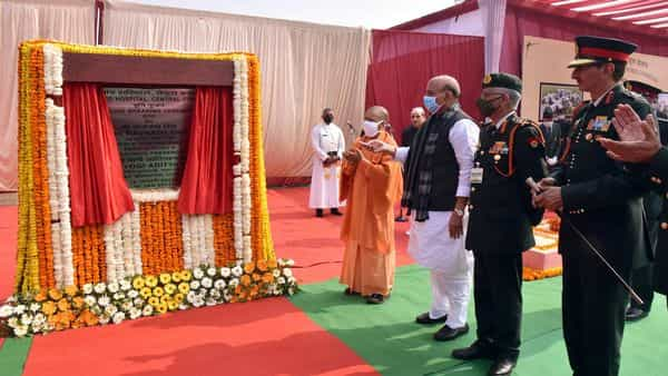 Chief Minister Yogi Adityanath, Union Defence Minister Rajnath Singh and Army Chief General MM Naravane during Bhoomi Poojan and foundation laying ceremony of New Command Hospital in Lucknow (ANI)