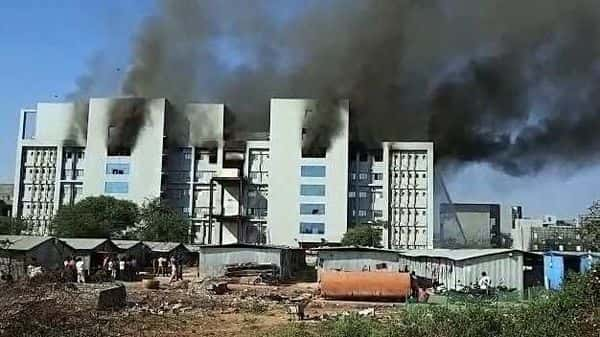 Fire broke out at Serum Institute of India, in Pune on Thursday. (ANI Photo)