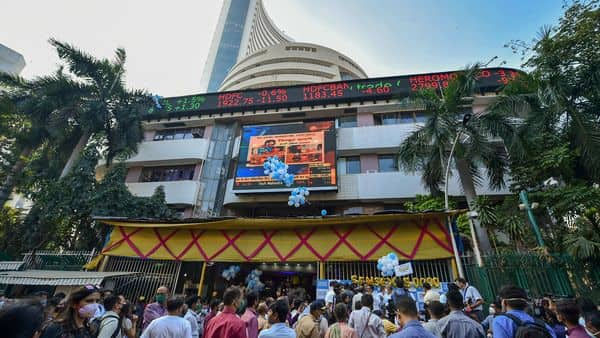 Celebrations at BSE after the sensex crossed 50000 mark for the first time (PTI)