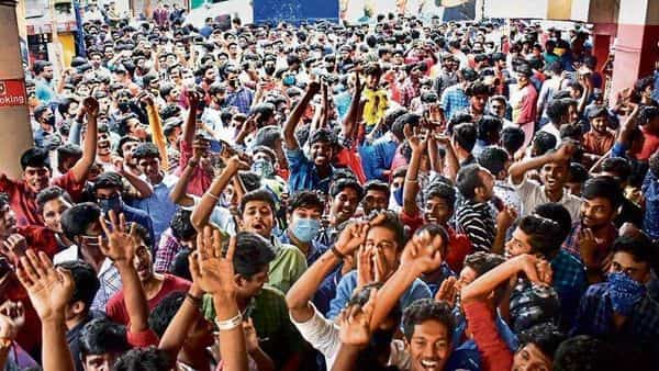 A crowd outside a theatre screening Master. The film generated around $4.75 million internationally in its opening weekend (PTI)
