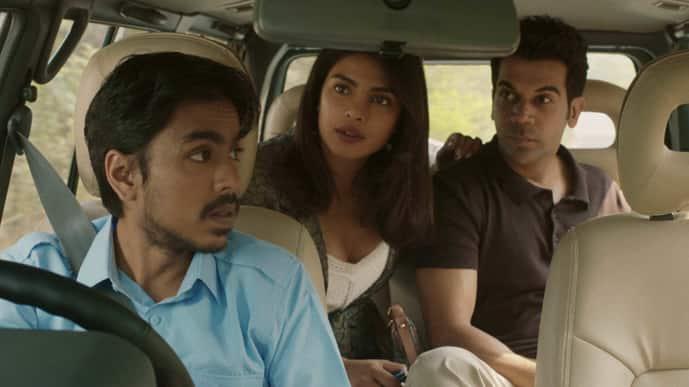 (from left) Adarsh Gourav, Priyanka Chopra Jonas and Rajkummar Rao in 'The White Tiger'. Image courtesy Netflix