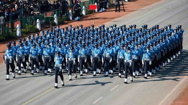 The IAF contingent during Indian Republic Day parade