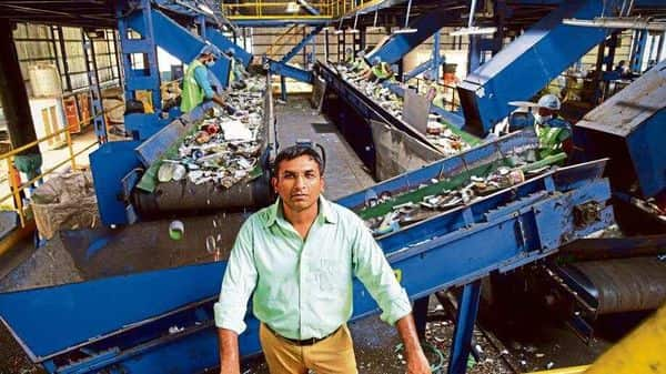 Nepra founder Sandeep Patel at his dry waste plant in Indore.
