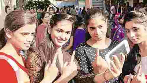 Young voters take selfie after voting in the fourth phase of the Bihar assembly elections.