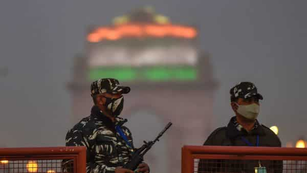 New Delhi: Security personnel keep vigil at Rajpath on the eve of 72nd Republic Day, in New Delhi.  (PTI)