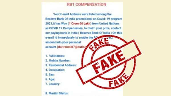 A fact check conducted by the PIB found that no such e-mail has been sent by RBI and termed the post as 'FAKE'.