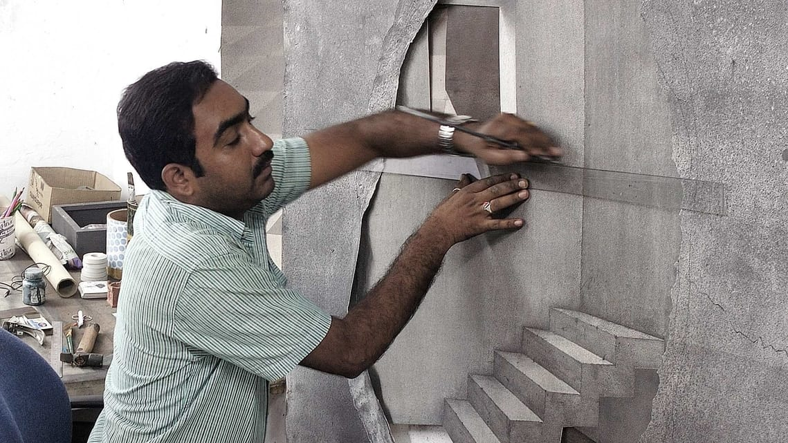 Dilip Chobisa's love for graphite led him to explore a monochromatic palette in his practice.