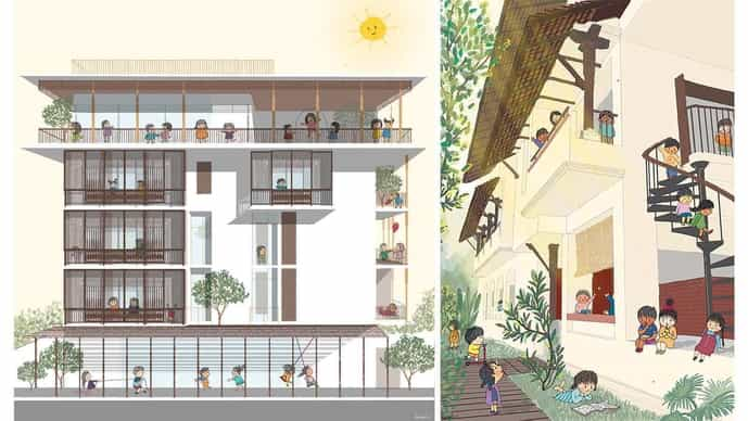 (left) Wooden 'jalis' protect the windows, allowing for natural ventilation, keeping the interiors cool and satisfying the need for privacy; (right) Varied openings, balconies and sloping 'chajjas' that infuse the building with light and wind and double up as waiting spaces. Illustrations by Kinjal Vora/SJK Architects