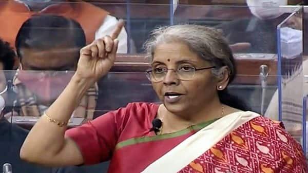 Union Finance Minister Nirmala Sitharaman presents the Union Budget 2021-22 in Lok Sabha in New Delhi on Monday. (ANI Photo/ LSTV Grab)