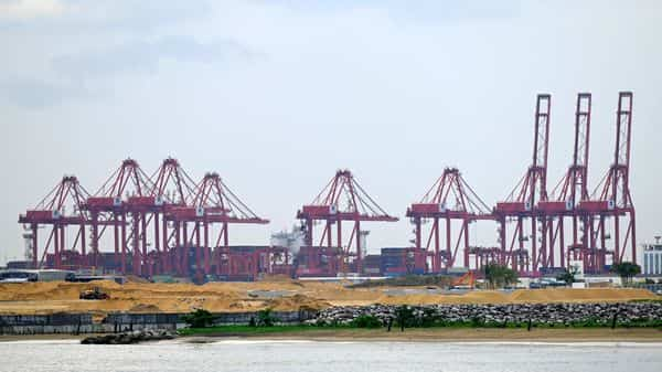 A general view of the Chinese-managed terminal of the Colombo port is seen from the Galle Face promenade in Colombo. (AFP)