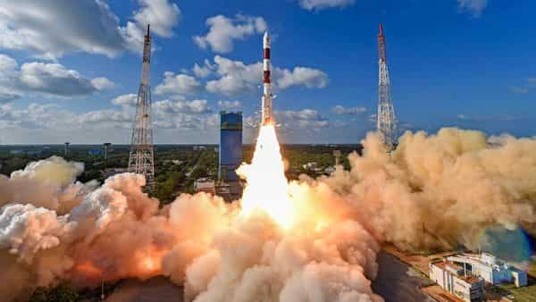 ISRO's workhorse rocket PSLV-C48 carrying radar imaging earth observation satellite RISAT-2BR1 and 9 foreign satellites blasts off from the spaceport in Sriharikota (Photo: PTI)