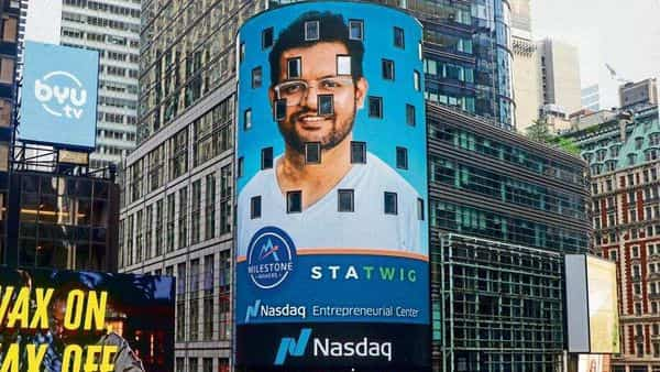 StaTwig founder Sid Chakravarthy on the Nasdaq tower in New York in recognition of the startup's work with vaccines.