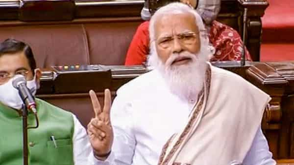 New Delhi: Prime Minister Narendra Modi speaks in the Rajya Sabha during ongoing Budget Session of Parliament (PTI)