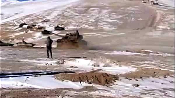 First Indian Army's tank disengaging during the ongoing disengagement process in Ladakh. (ANI Photo)