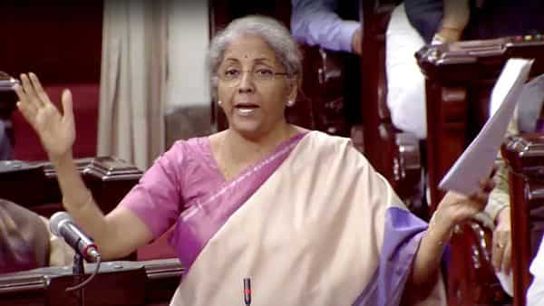 Finance Minister Nirmala Sitharaman in Rajya Sabha during Budget discussion in Parliament, in New Delhi on Friday. (ANI Photo/RSTV)