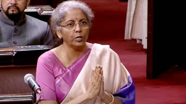 Union Finance Minister Nirmala Sitharaman speaks in Rajya Sabha during a Budget session of Parliament in New Delhi on Friday. (ANI Photo/RSTV)
