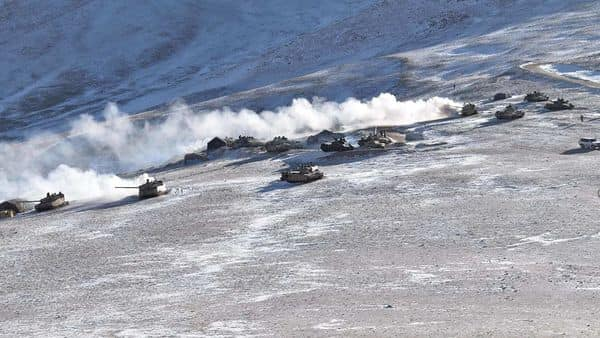 This handout photo released by the Indian Army shows military disengagement near Pangong in Ladakh. (AFP)