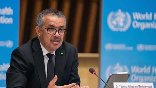 This handout picture taken and released on February 12, 2021 by World Health Organization (WHO) shows  WHO Director-General Tedros Adhanom Ghebreyesus delivering remarks during a press conference on February 12, 2021 in Geneva. - The head of the World Health Organization said on February 12, 2021 that all hypotheses on the origins of the Covid-19 pandemic remained on the table following the WHO's investigation in China. (Photo by Christopher Black / World Health Organization / AFP) / RESTRICTED TO EDITORIAL USE - MANDATORY CREDIT