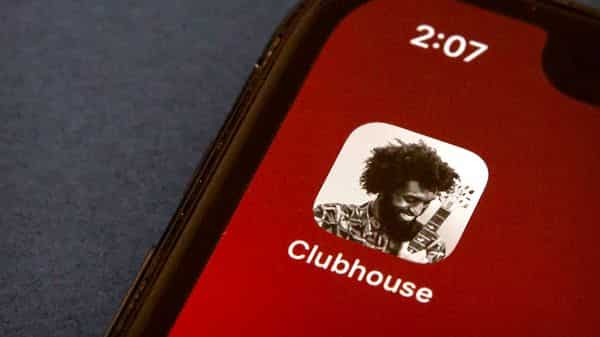 The icon for the social media app Clubhouse is seen on a smartphone screen (AP)