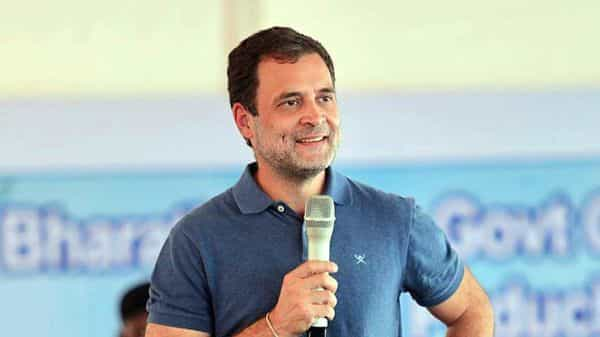 Congress leader Rahul Gandhi interacts with students at Bharathidasan College for Women, in Puducherry on Wednesday. (ANI Photo)
