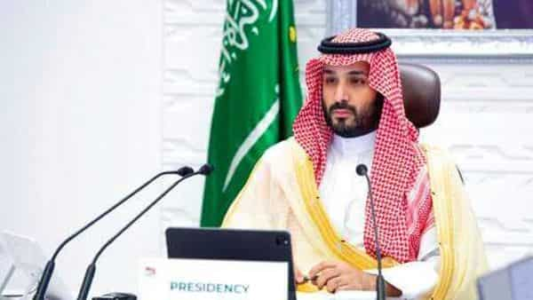 FILE - In this Nov. 22, 2020 file photo, Saudi Arabia's Crown Prince Mohammed bin Salman attends a virtual G-20 summit held over video conferencing, in Riyadh, Saudi Arabia.  Saudi Arabia announced on Monday, Feb. 15, 2021,  that it plans to stop signing contracts with foreign companies that don't have their Mideast headquarters in the kingdom, state-run media reported, a bold move that could escalate business competition in the region.  (Bandar Aljaloud/Saudi Royal Palace via AP, File) (AP)