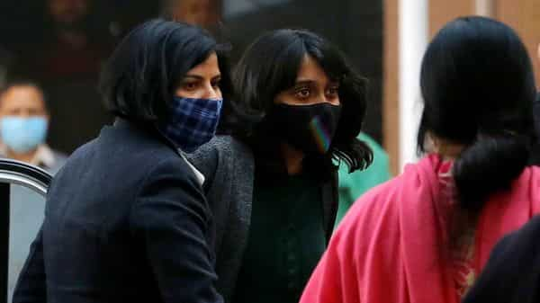 Disha Ravi, a climate activist, arrives at a court in New Delhi. (REUTERS)