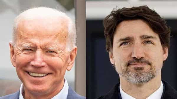 US President Joe Biden with Canadian Prime Minister Justin Trudeau.