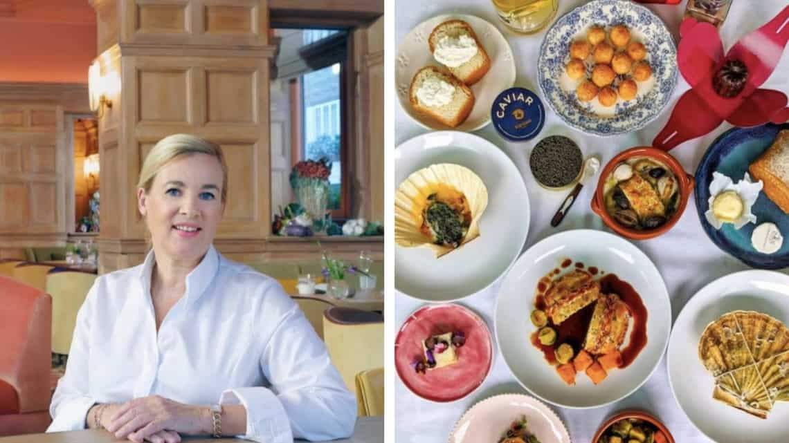 (From left) Helen Darroze and a five-course menu for two at Hélène Darroze's three Michelin-starred restaurant at The Connaught