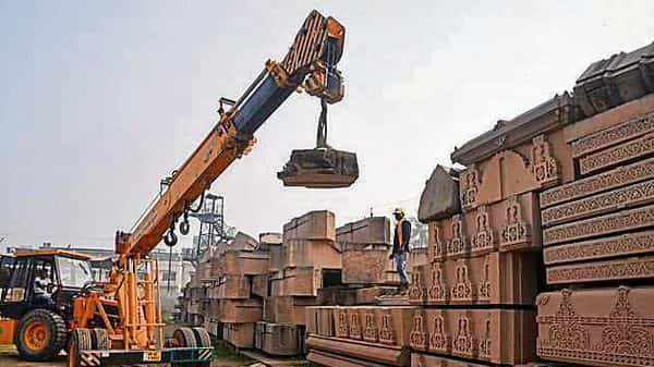 Works in progress at Karsewak Puram in Ayodhya. PTI file photo (HT_PRINT)