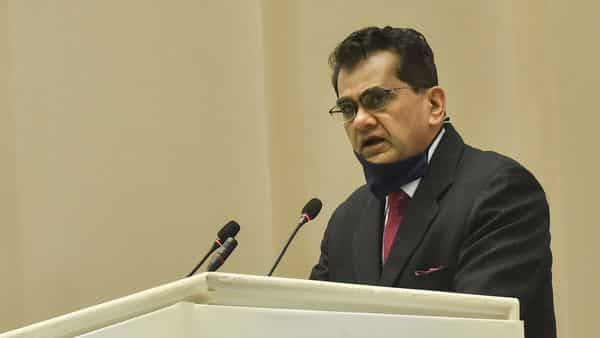 New Delhi: CEO of NITI Aayog (National Institution for Transforming India) Amitabh Kant speaks during the inauguration of 'National Road Safety Month' to create awareness on road safety and reduce road accidents, at Vigyan Bhavan in New Delhi, Monday, Jan. 18, 2021. (PTI Photo/Manvender Vashist)(PTI01_18_2021_000103A) (PTI)