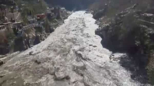 General view during a flood in Chamoli, Uttarakhand on 7 February 2021 (Photo: Reuters)