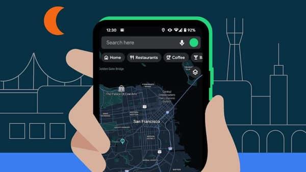 Google Maps new dark mode