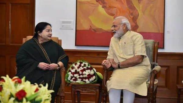 A file photo of PM Modi with former Tamil Nadu Chief Minister Jayalalithaa.  (@narendramodi)