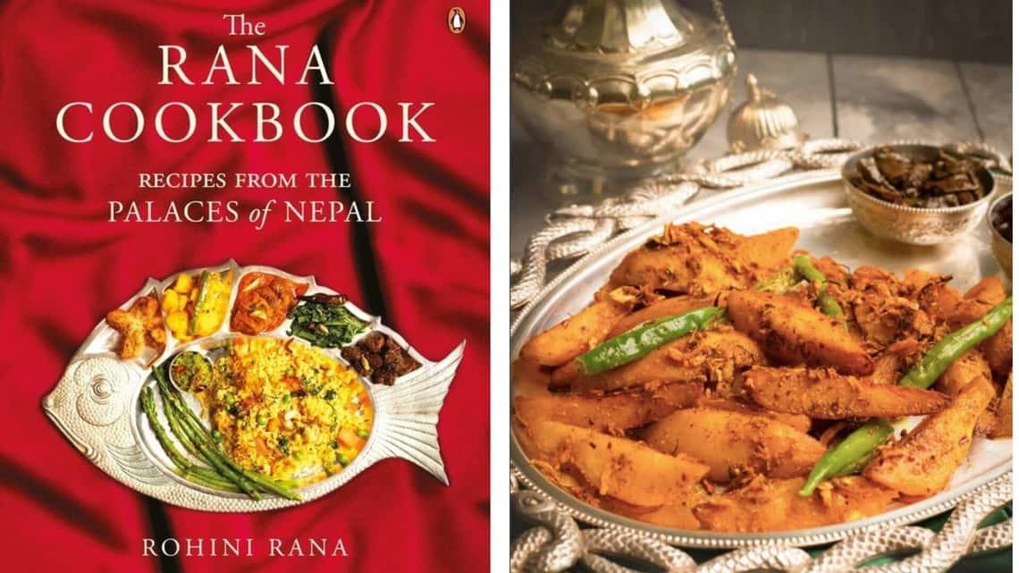 (From left) The Rana Cookbook by Rohini Rana, published by Penguin Random House India, and Aaloo tare ko.
