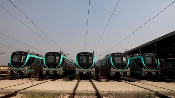Metro cars are seen parked at the depot of Noida Metro Rail Corporation (NMRC), (REUTERS)