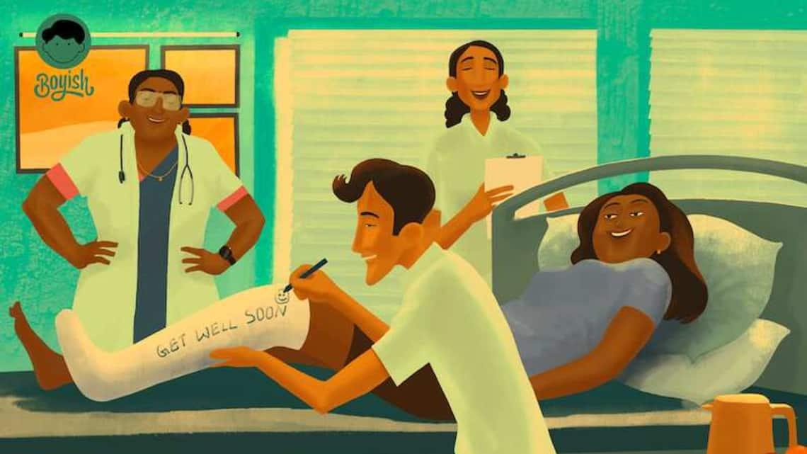 An illustration accompanying Boyish essay on male nurses. By illustrator Ajin Mohan