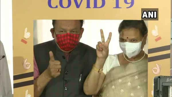 Dr Harsh Vardhan was accompanied by his wife who also took the first shot of the Covid vaccine today. (ANI)