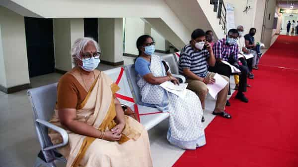 Elderly people wait for their turn for being vaccinated during the second phase of COVID-19 vaccination in Chennai on Monday. (ANI Photo)