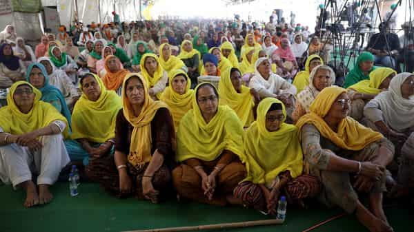 Women farmers sitting at the demonstration site during the ongoing farmer protest (ANI Photo )