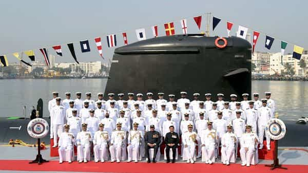 Chief of Naval Staff Admiral Karambir Singh (5L) poses for a group photograph with Indian Navy officers during the commissioning ceremony of INS Karanj submarine into the Indian Navy, in Mumbai on March 10, 2021 (Photo: PTI)