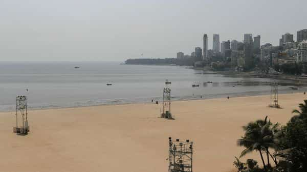 The deserted Girgaon Chowpatty beach is seen empty after the Maharashtra state government banned public gatherings to avoid the spreading of the coronavirus, in Mumbai. (REUTERS)
