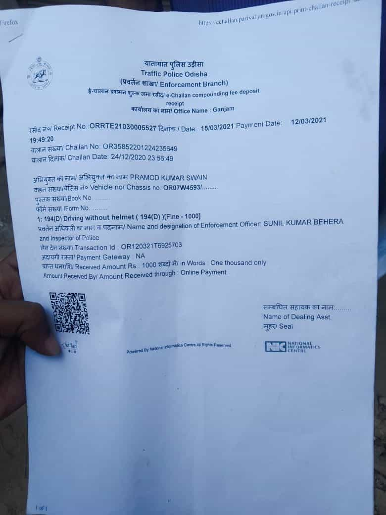 Here's the challan issued against the truck driver.