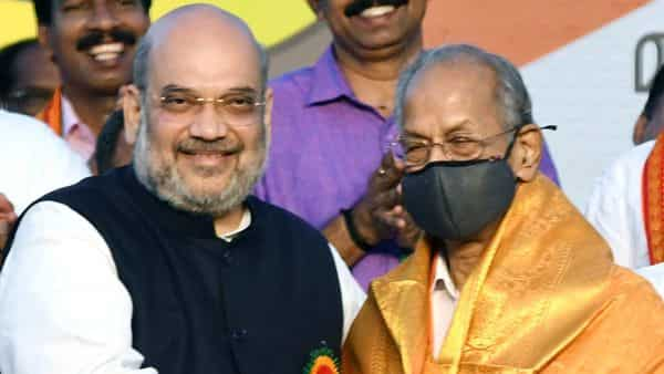 E Sreedharan being greeted by Union Home Minister Amit Shah after joining BJP, in Thiruvananthapuram. (ANI Photo)