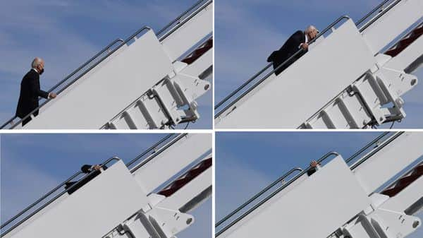 Biden 'doing just great' after tumble on Air Force One stairs