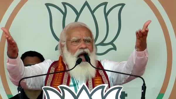 Prime Minister Narendra Modi addresses a public rally ahead of West Bengal Assembly Election, in Kharagpur on Saturday. (ANI Photo)
