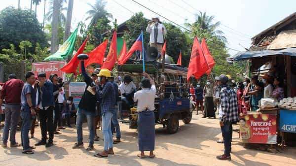 Protesters taking part in a demonstration against the military coup in Launglone township in Myanmar's Dawei district. (AFP)