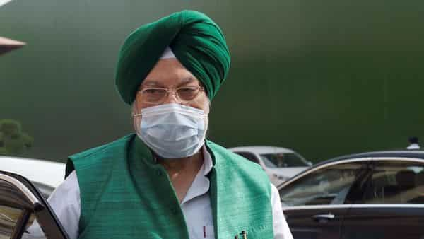 New Delhi: Union Minister Hardeep Singh Puri at Parliament House complex, during the ongoing Budget Session, in New Delhi, Wednesday, March 24, 2021. (PTI Photo/Atul Yadav)(PTI03_24_2021_000026B) (PTI)
