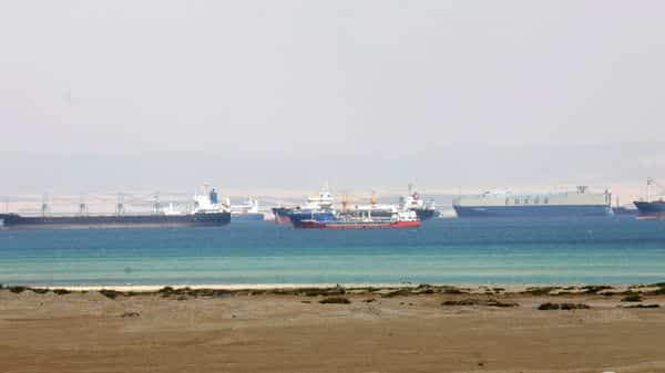 Ships are seen at the entrance of the Suez Canal, Egypt March 26, 2021. (REUTERS)