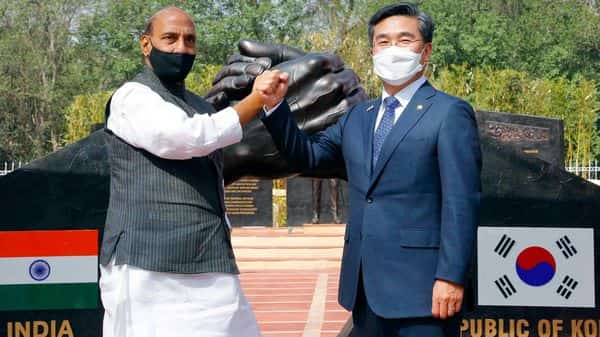 Defence Minister Rajnath Singh and Minister of Defence of Republic of Korea Mr Suh Wook during the jointly inauguration of the India-Korea Friendship Park (ANI Photo)